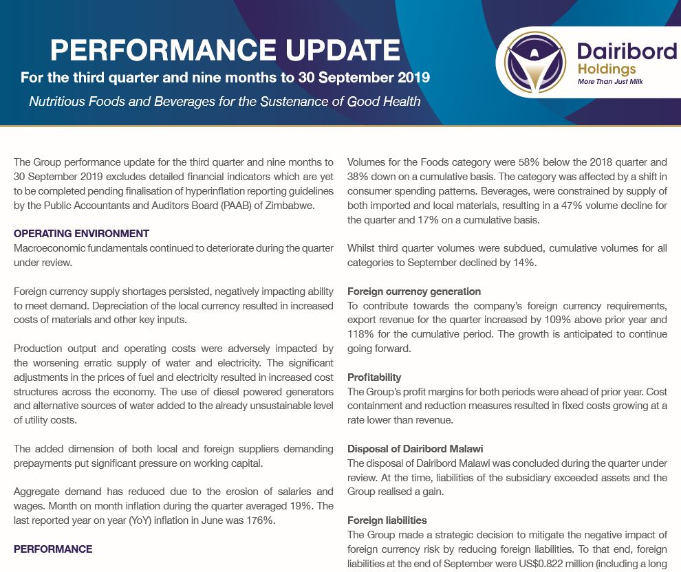 Dairibord Holdings Q3 2019 perfomance update
